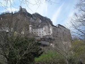 view of Rocamadour from the bottom