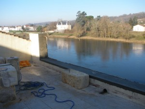 work well underway on the terrace wall